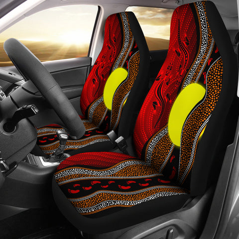 1stAustralia Aboriginal CarSeat Covers - Aboriginal Flag Lizard Dot Painting Style