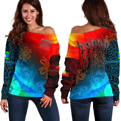 1stAustralia Naidoc Women's Off Shoulder Sweater  - Proud To Be