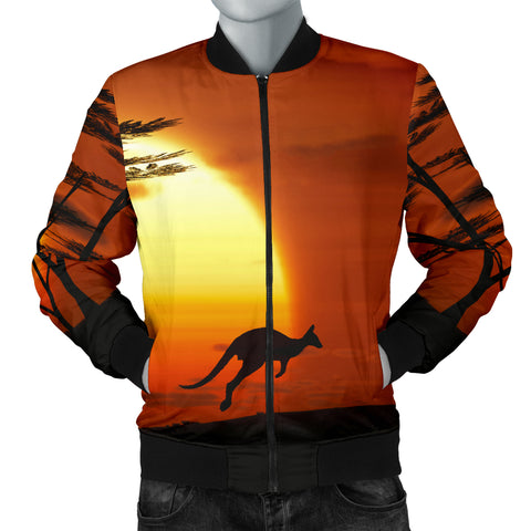 Australia Mens Bomber Jacket Kangaroo Sunset
