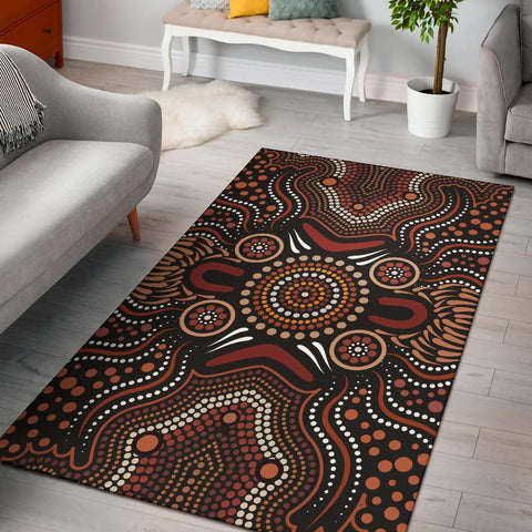 1stAustralia Aboriginal Area Rug - Boomerang Circle Dot Painting Art Ver02