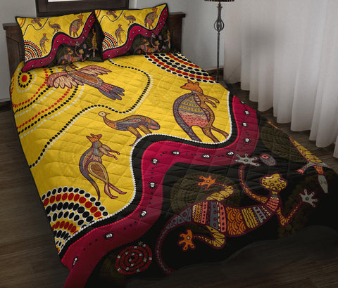 1stAustralia Aboriginal Quilt Bed Set - Indigenous Animals Life Art