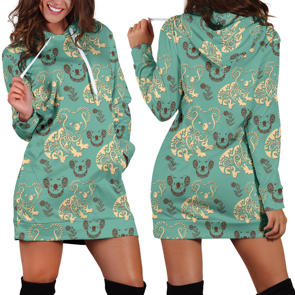 Australia Koala Pattern Hoodie Dress