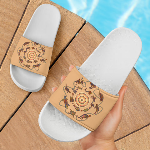 1stAustralia Slide Sandals- Aboriginal Patterns Sandals Animal Australia Kangaroo (White)
