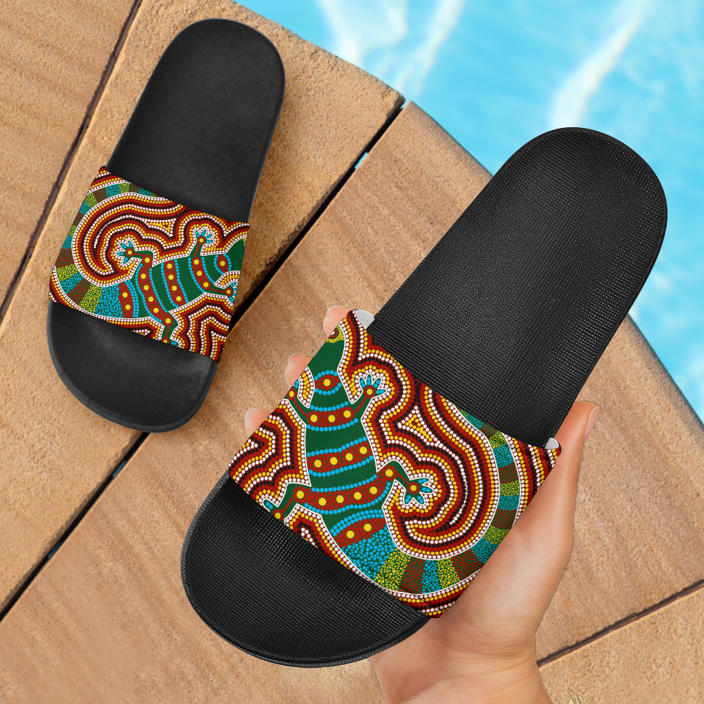 1stAustralia Slide Sandals - Aboriginal Dot Painting Bag Lizard Patterns