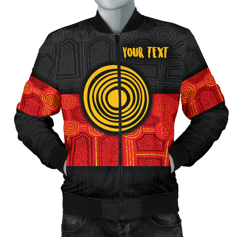 1stAustralia Personalised Aboriginal Men's Bomber Jacket - Aussie Indigenous Flag
