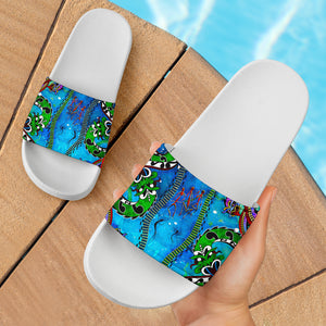 1stAustralia Slide Sandals - Aussie Indigenous Patterns Blue (white)