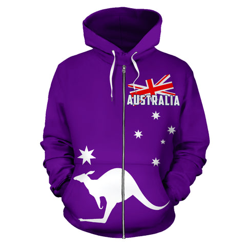 Australia Kangaroo Hoodie (Zip-Up) - Flag Purple Version