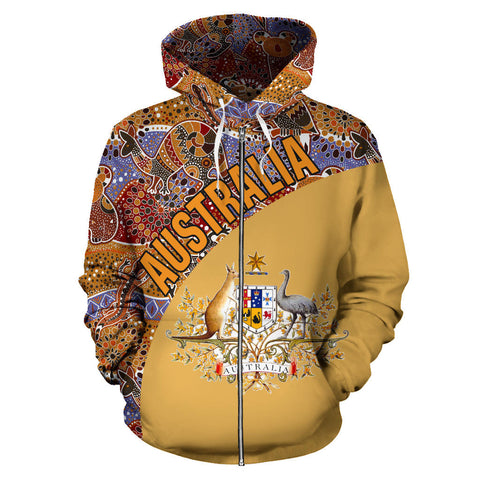Australia Hoodie Aboriginal Wave Coat Of Arms Zip-Up