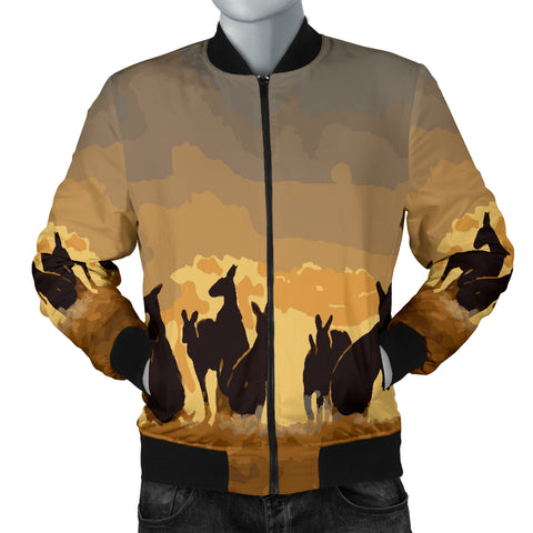 Australia Mens Bomber Jacket Kangaroo Family Sunset