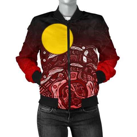 1stAustralia Aboriginal Women's Bomber Jacket - Red Landscape