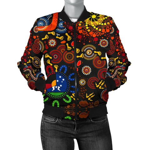 1stAustralia Bomber Jacket Indigenous FootPrints Jacket