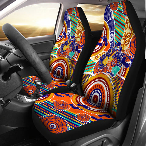 1stAustralia Aboriginal Car Seat Covers - Australian Map Dot Painting