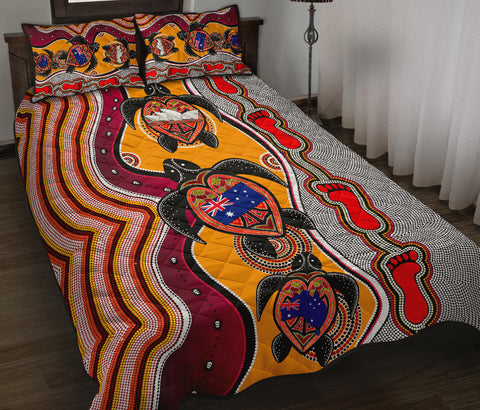 1stAustralia Quilt Bed Set- Aboriginal Patterns Quilt Bed Set Turtle