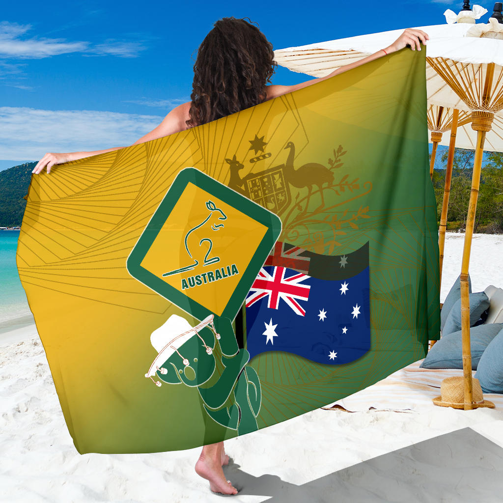 1stAustralia Sarong - Aus Flag and Coat Of Arms Sarong Kangaroo and Koala Sign
