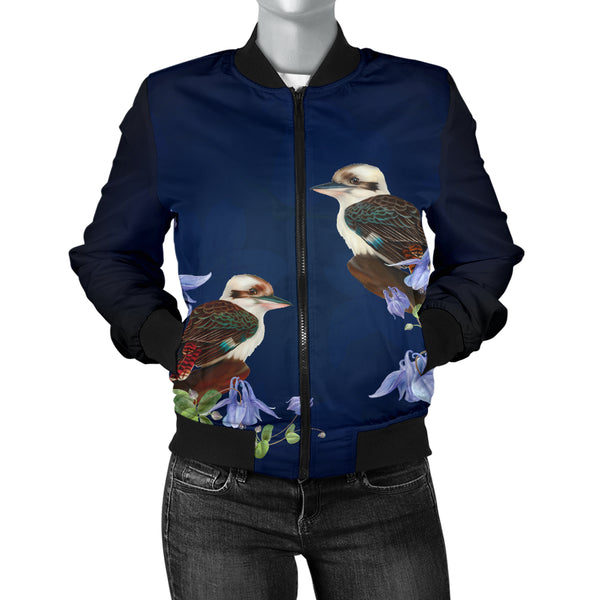 Kookaburra Birds in the Bluebell Womens Bomber Jacket