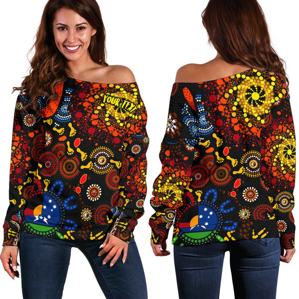 [Custom Text] 1stAustralia Aboriginal Women's Off Shoulder Sweater - Indigenous Footprints