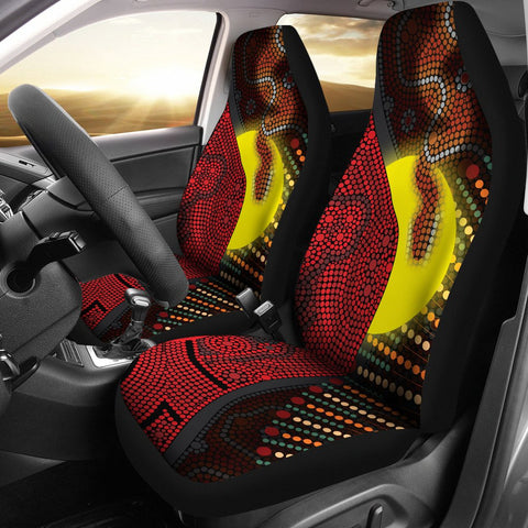 1stAustralia Aboriginal  Car Seat Covers - Indigenous Snake Sun Dot Painting