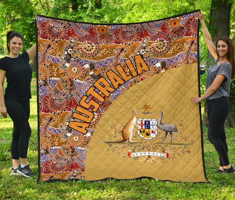 Australia Premium Quilt Aboriginal Wave Coat Of Arms