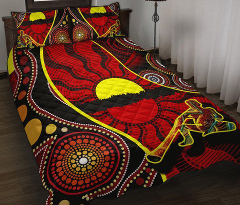 1stAustralia Quilt Bed Set - Australia Aboriginal Dots With Didgeridoo - BN19
