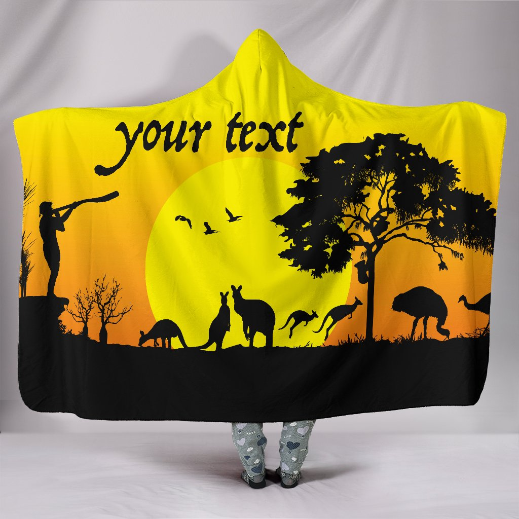 (Custom text) 1stAustralia Hooded Blankets - Sunset Australia View - BN17
