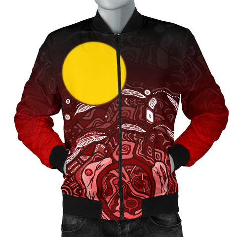 1stAustralia Aboriginal Men's Bomber Jacket - Red Landscape