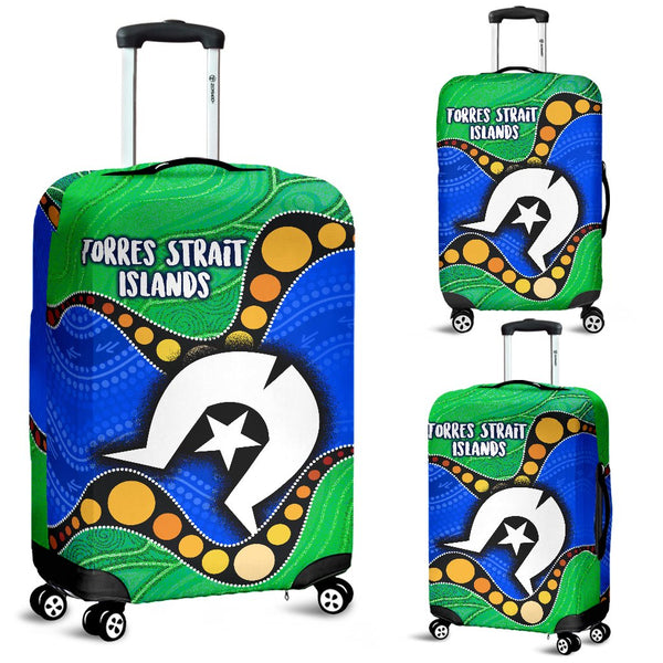 1stAustralia Torres Strait Islands Luggage Covers -  Flag with Aboriginal Patterns