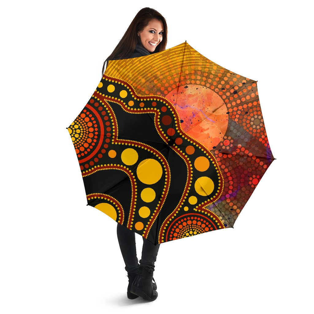 1stAustralia Aboriginal Umbrella - Australia Indigenous Flag Circle Dot Painting Art (Golden)