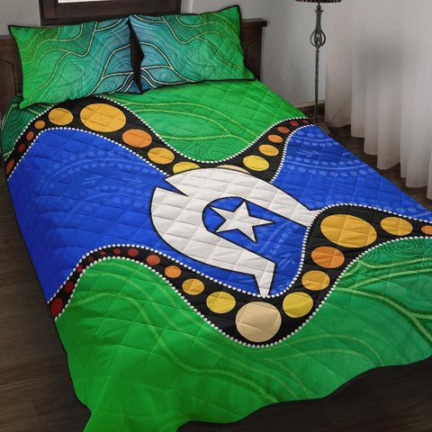 1stAustralia Torres Strait Islands Quilt Bed Set -  Flag with Aboriginal Patterns