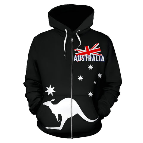 Australia Kangaroo Hoodie (Zip-Up) - Black Version