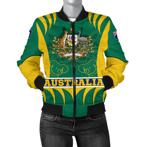 1stAustralia Bomber Jacket - Australian Coat Of Arms Jacket Koala - Women