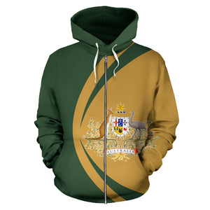 Australia Hoodie (Zip-Up) Coat Of Arms  - Circle Style