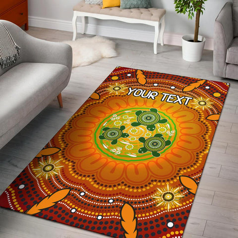 [Custom Text] 1stAustralia Aboriginal Area Rug - Turtle Circle Dot Painting Art