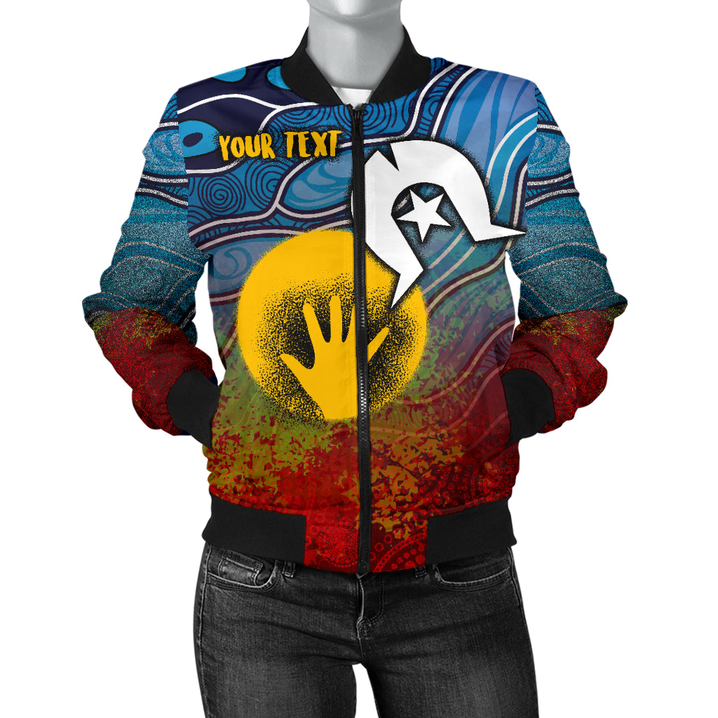 [Custom] 1stAustralia Aboriginal Women's Bomber Jacket - Aboriginal and Torres Strait Islanders Flag