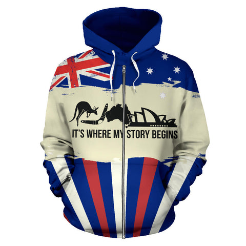 Zip Up Hoodie Australia Its Where My Story Begins - Front - For Men and Women