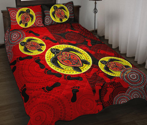 1stAustralia Quilt Bed Set - Aboriginal Dot Painting Quilt Bed Set Turtle