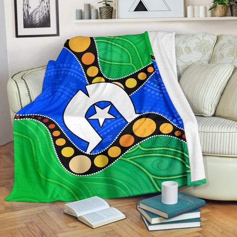1stAustralia Torres Strait Islands Premium Blanket -  Flag with Aboriginal Patterns