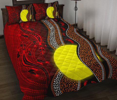 1stAustralia Aboriginal Quilt Bed Set - Aboriginal Flag Lizard Dot Painting Style - BN11
