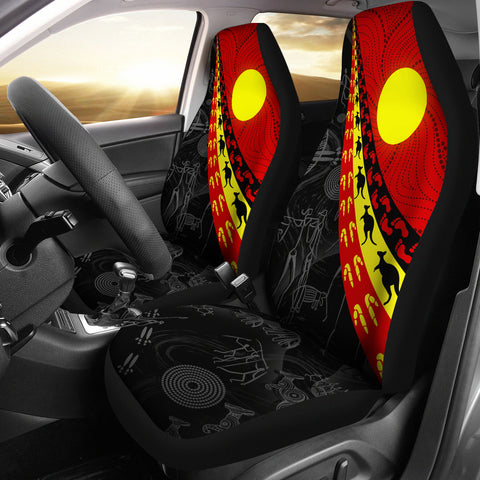 1stAustralia Aboriginal Car Seat Covers, Indigenous Flag Circle Dot Painting