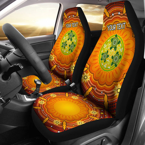 [Custom Text] 1stAustralia Aboriginal Car Seat Covers - Turtle Circle Dot Painting Art