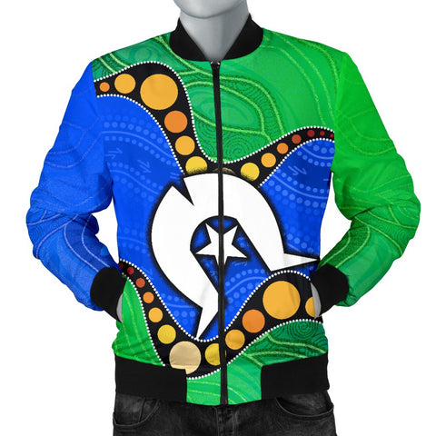 1stAustralia Torres Strait Islands Men's Bomber Jacket -  Flag with Aboriginal Patterns