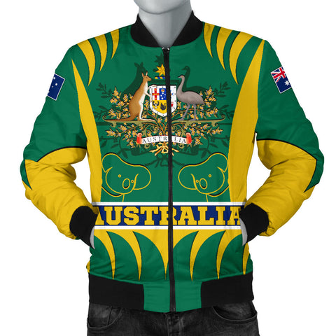 1stAustralia Bomber Jacket - Australian Coat Of Arms Jacket Koala - Men