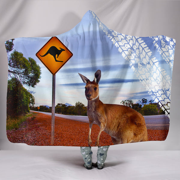 Australia Kangaroo With The Wheel Mark Hooded Blanket