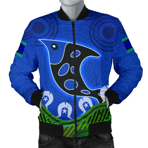 1stAustralia Men's Bomber Jacket - Torres Strait Dot Patterns Fish