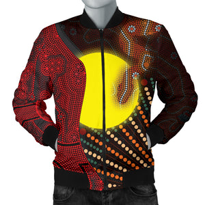 1stAustralia Aboriginal  Men's Bomber Jacket - Indigenous Snake Sun Dot Painting