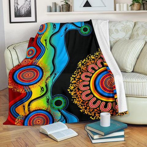 1stAustralia Premium Blanket - Aboriginal Blanket Blue Dream