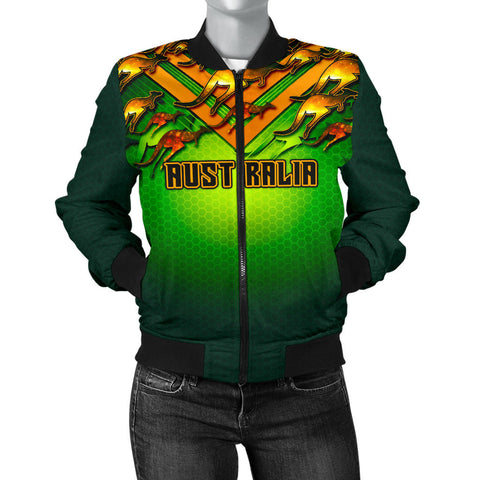 1stAustralia Bomber Jacket - Australian Kangaroo Jacket Aussie National Colors - Women