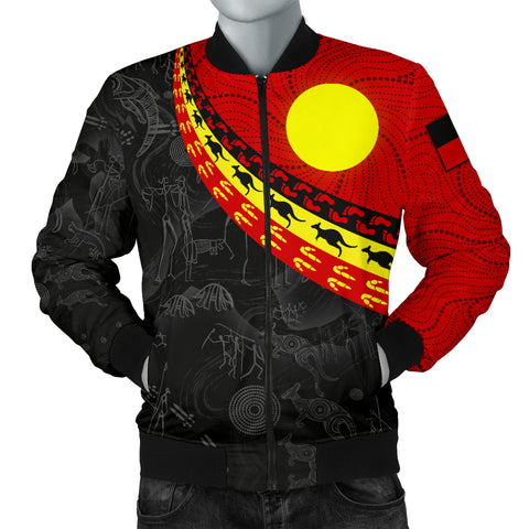 1stAustralia Aboriginal Men's Bomber Jacket, Indigenous Flag Circle Dot Painting