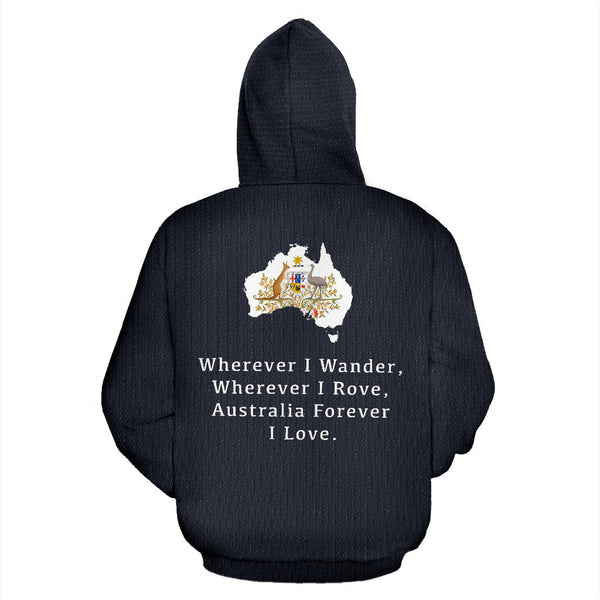 Australia In Me Hoodie with Navy color - Back - For Men and Women