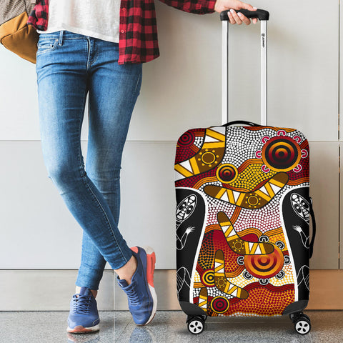 1stAustralia Luggage Cover - Aboriginal Dot Painting Lizard Suitcase Cover