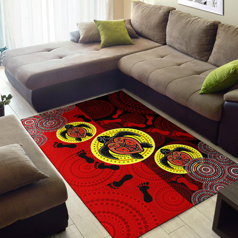 1stAustralia Aboriginal Area Rug, Turtle Footprint Circle Dot Painting